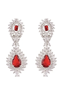 White Finish Red Stone Earrings by Aster