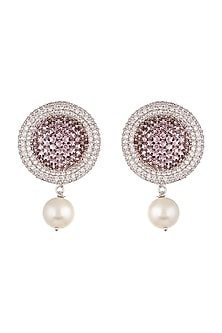 White Finish Pearl Drop Earrings by Aster