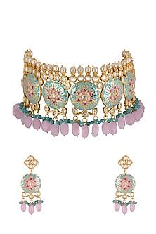 Gold Finish Meenakari Choker Necklace Set by Aster