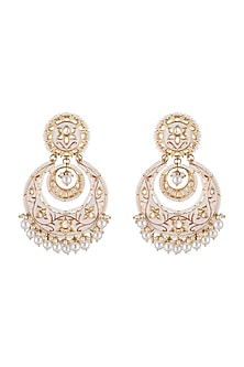 Gold Finish Meenakari Chandbali Earrings by Aster