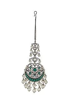 Black Rhodium Finish Diamond Maang Tikka by Aster-EDITOR'S PICK