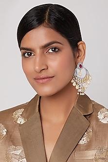 Gold Finish Chandbali Jhumka Earrings by Aster