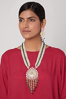 Gold Finish Meenakari Pendant Necklace Set by Aster