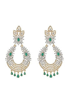 Gold Finish Diamond & Stone Earrings by Aster