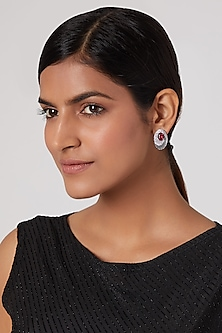 White Finish Diamond & Stone Stud Earrings by Aster