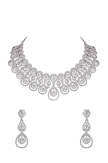 White Finish Diamond Necklace Set by Aster