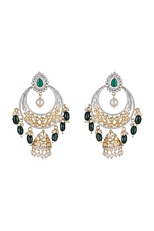 Gold Finish Diamond Chandbali Jhumka Earrings by Aster