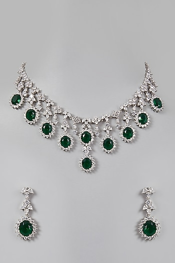 White Finish Green Stone & Diamond Necklace Set by Aster