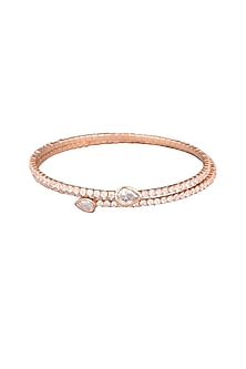 Rose Gold Faux Diamonds Bangle by Aster