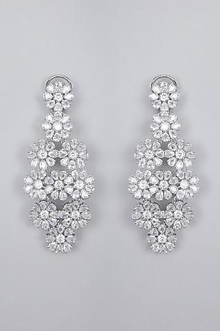 Silver Finish Zircon Dangler Earrings by Aster