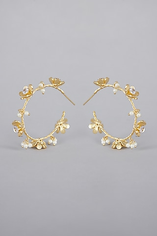 Gold Finish Pearls Hoop Earrings by Aster