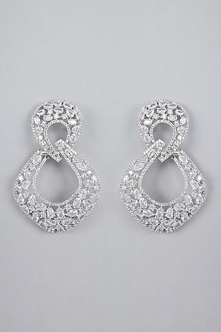 Silver Finish Zircon Earrings by Aster