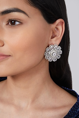 Silver Finish Stud Earrings by Aster