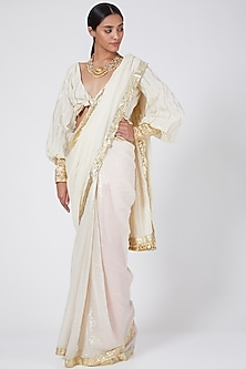 White Embellished Saree Set by Ashna Vaswani & Riitu Shiivpuri