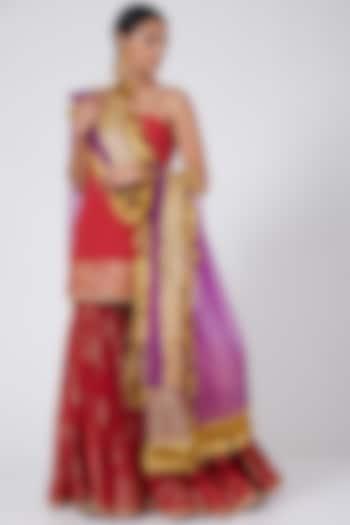 Red Embroidered Sharara Set by Ashna Vaswani & Riitu Shiivpuri