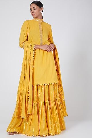 Yellow Layered Lehenga Set With Gota Work by Ashna Vaswani & Riitu Shiivpuri