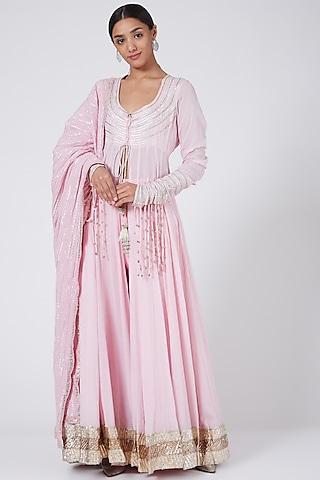 Blush Pink Anarkali Set With Gota Tassels by Ashna Vaswani & Riitu Shiivpuri