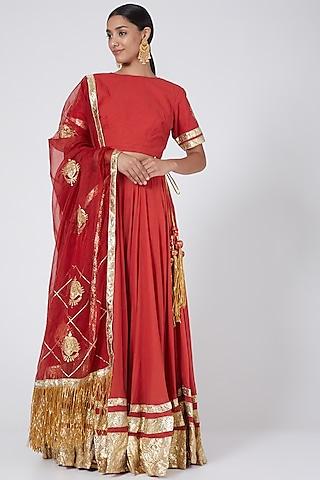 Red Embroidered Lehenga Set by Ashna Vaswani & Riitu Shiivpuri