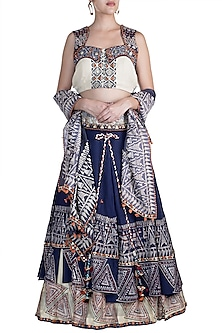 Cobalt Blue & Beige Embellished Printed Lehenga Set by Ashna Vaswani