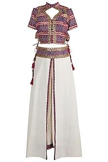 Maroon Embellished & Printed Corset Top With Beige Skirt Pants by Ashna Vaswani