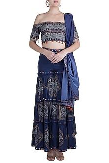 Cobalt Blue Embroidered & Block Printed Sharara Set by Ashna Vaswani
