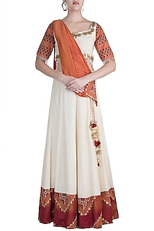 Rust, Off White Embroidered Printed Blouse With Attached Drape & Skirt by Ashna Vaswani