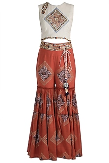 Beige Embellished & Block Printed Crop Top With Sharara Pants by Ashna Vaswani