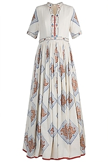 Off White Embellished & Block Printed Gown by Ashna Vaswani