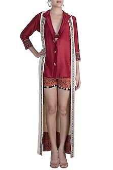Maroon Shirt With Embellished Printed Shorts & Beige Long Shrug by Ashna Vaswani