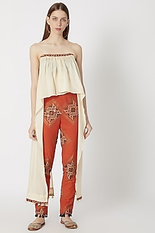 Beige Printed & Embellished Cape Top With Pants by Ashna Vaswani