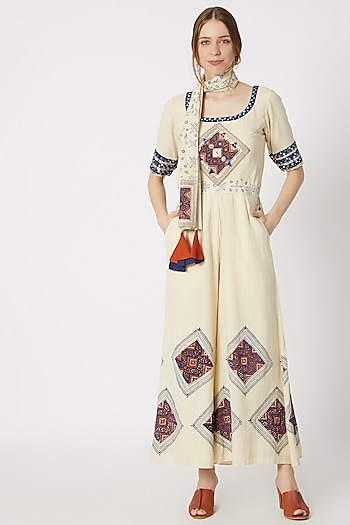 Beige Printed & Embellished Jumpsuit With Scarf by Ashna Vaswani