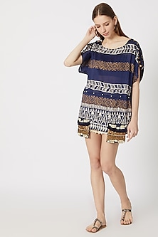 Cobalt Blue Printed & Embroidered Boxy Fit Top by Ashna Vaswani