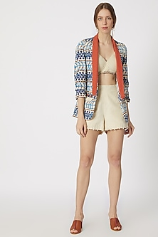Cobalt Blue Printed Blazer With Beige Top & Shorts by Ashna Vaswani