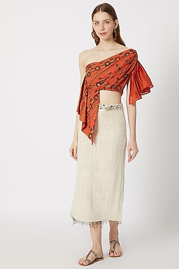 Rust Orange One Shoulder Top With Pencil Skirt by Ashna Vaswani