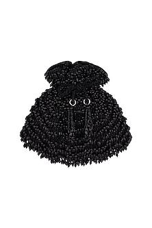 Jet Black Pearl Embellished Potli by Aanchal Sayal