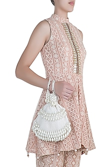 Ivory Pearl Embellished Potli by Aanchal Sayal