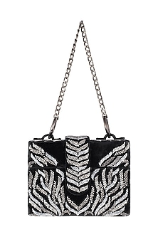 Black Embroidered Sling Box Bag by Aanchal Sayal