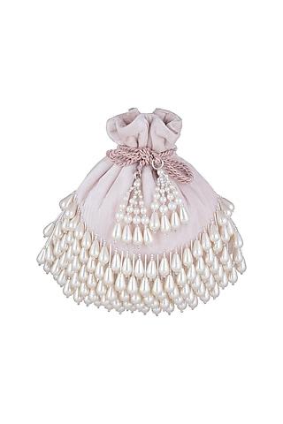 Pink Pearl Embellished Velvet Potli by Aanchal Sayal