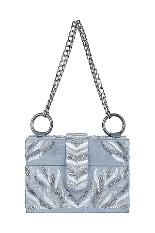 Grey Embroidered Sling Box Bag by Aanchal Sayal