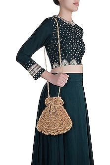 Deep Gold Embroidered Oyster Potli by Aanchal Sayal