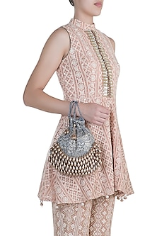 Warm Grey Pearl & Lace Oyster Potli by Aanchal Sayal