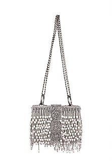 Grey Embroidered Victorian Sling Box Bag by Aanchal Sayal