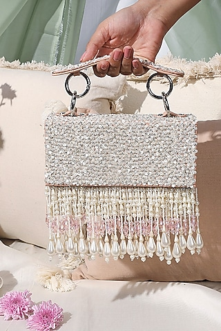 Blush Pink Sequins Embellished Mini Bag by Aanchal Sayal