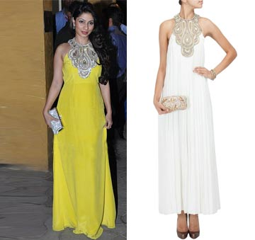 Off white pleated embroidered nicole maxi by Payal Singhal
