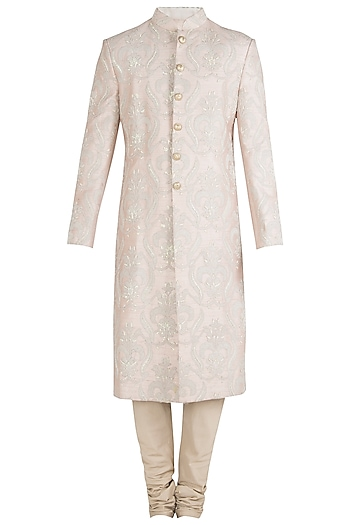 Cream Embroidered Sherwani Set by Aditya Sachdeva