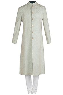 Mint Green Embroidered Sherwani Set with Stole by Aditya Sachdeva
