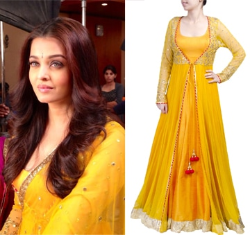 Yellow anarkali with sheer jacket by SVA BY SONAM & PARAS MODI