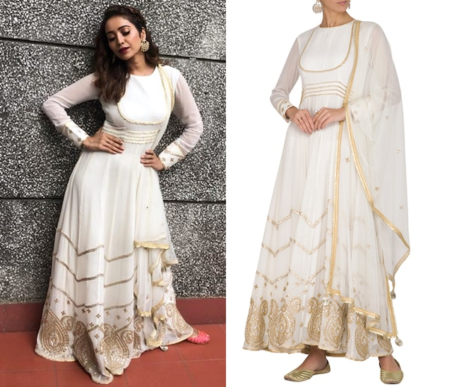 White Embellished Anarkali Set by Ruchira Nangalia