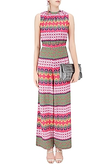 Multicolor Tribal Print Ruched Jumpsuit by Ash Haute Couture