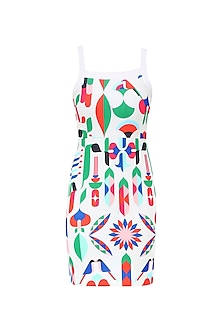 Ivory Retro Swan Print Shift Dress by Ash Haute Couture